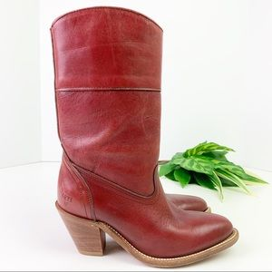 Vintage Frye Western Cowgirl Boots Red